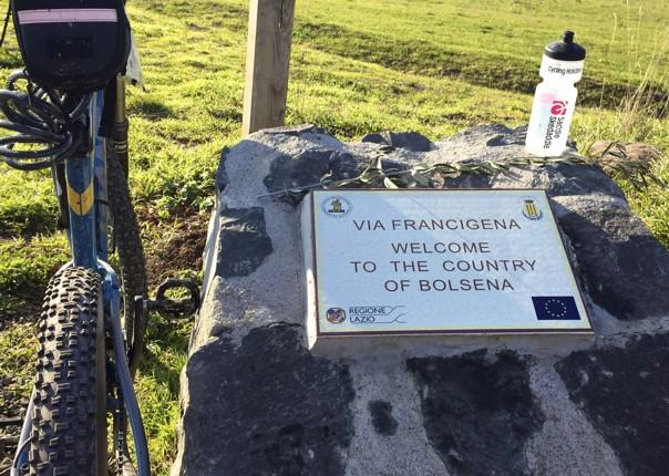 cycling-holiday-italy-viafrancigena-sign.jpg - Italy - Via Francigena (Tuscany to Rome) - Guided Mountain Biking Holiday - Mountain Biking