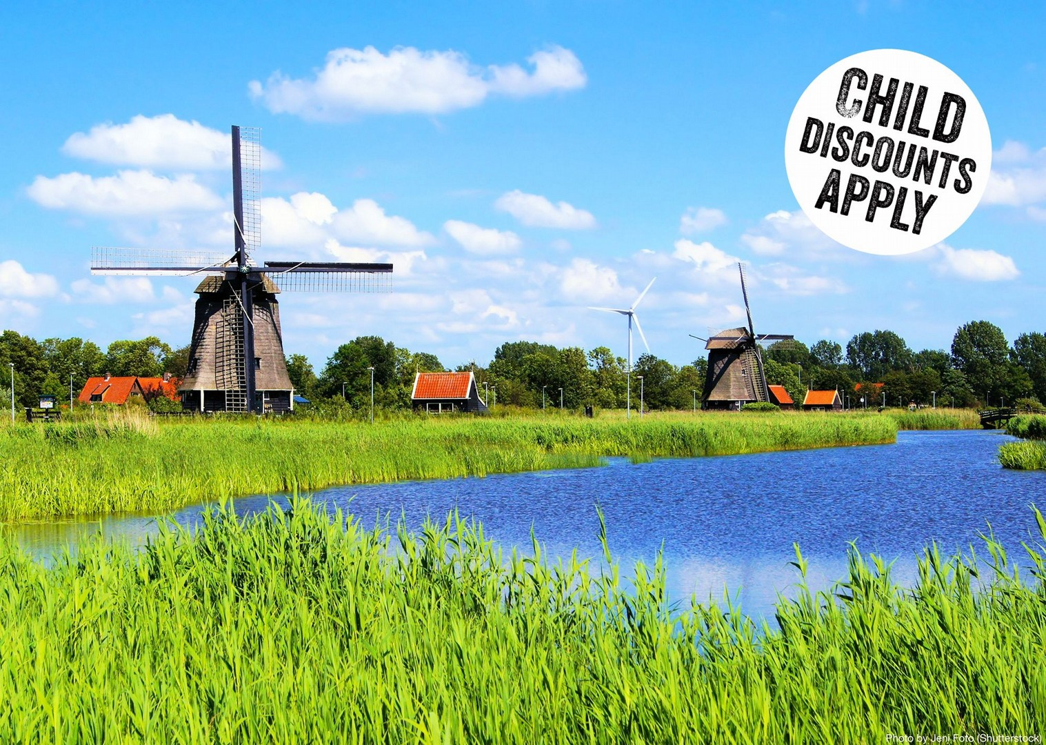 easy-paced-family-cycle-holiday-past-scenic-holland-windmills.jpg - Holland - Windmills and Golden Beaches - Bike and Barge Holiday - Leisure Cycling
