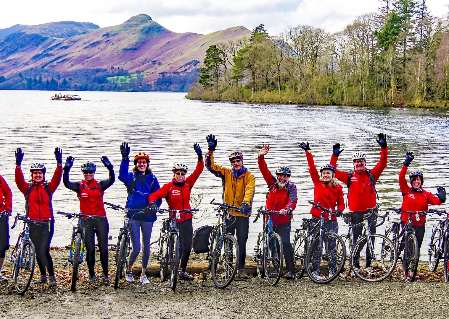 happy-fun-family-friends-guided-group-cycling-tour-lake-district.jpg - UK - Lake District - Derwent Water - Guided Leisure Cycling Holiday - Leisure Cycling