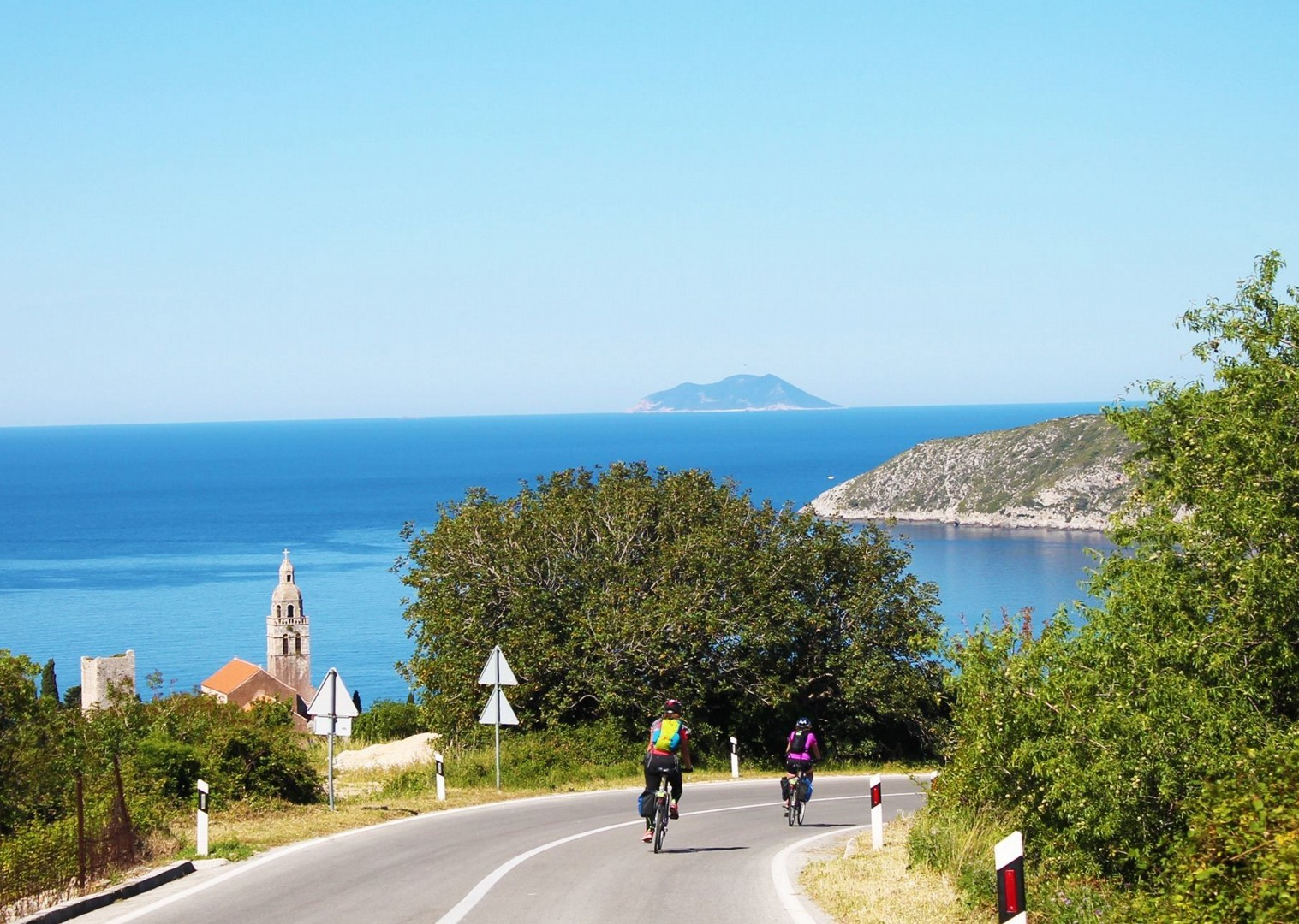 coastal-ride-leisure-boat-views-croatia-skedaddle.jpg - Croatia - Southern Dalmatia Plus - Bike and Boat Holiday - Leisure Cycling