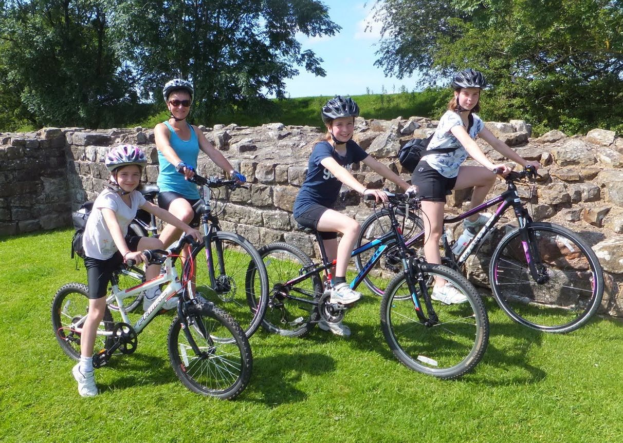 family-hadrians-wall-roman-fort-cycling-trip.jpg - UK - Hadrian's Cycleway - Family Cycling
