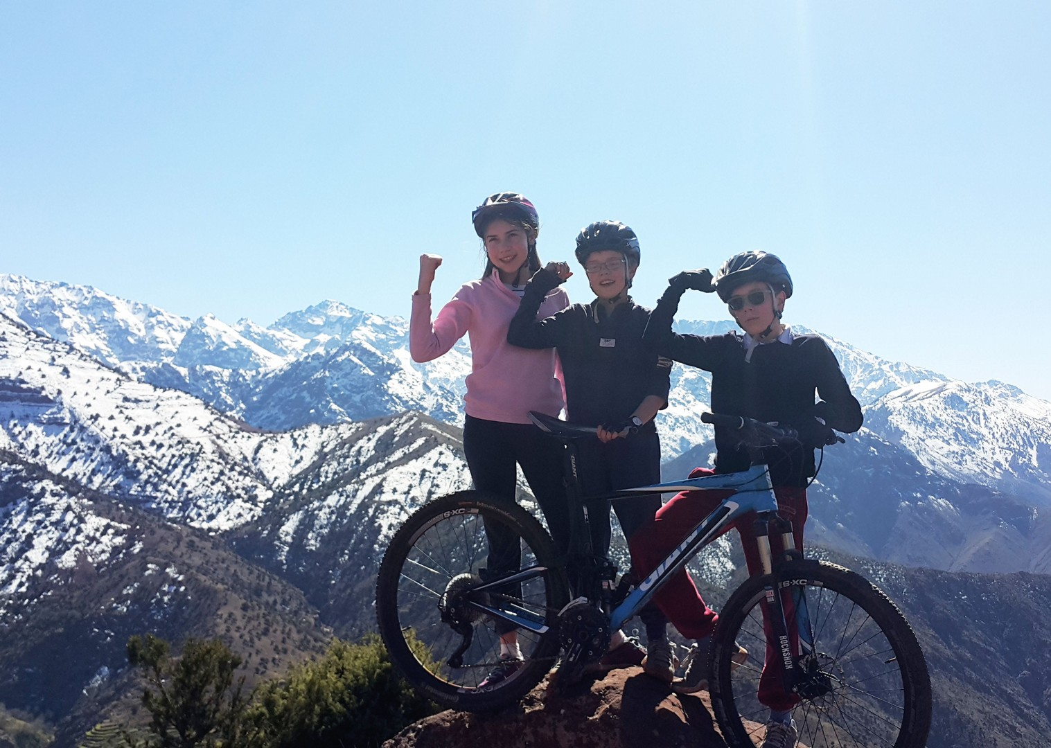 Family-Cycling-Holiday-Morocco-Desert-Mountains-Coast-biking-top-of-the-mountain - Morocco - Desert, Mountains and Coast - Family Cycling