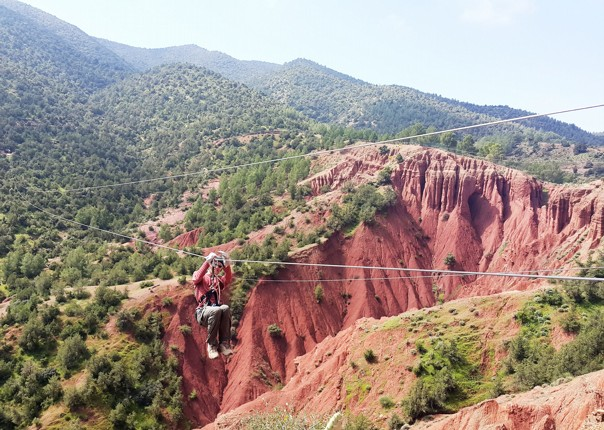 Family-Cycling-Holiday-Morocco-Desert-Mountains-Coast-zip-wire-zipline - Morocco - Desert, Mountains and Coast - Guided Family Cycling Holiday - Family Cycling