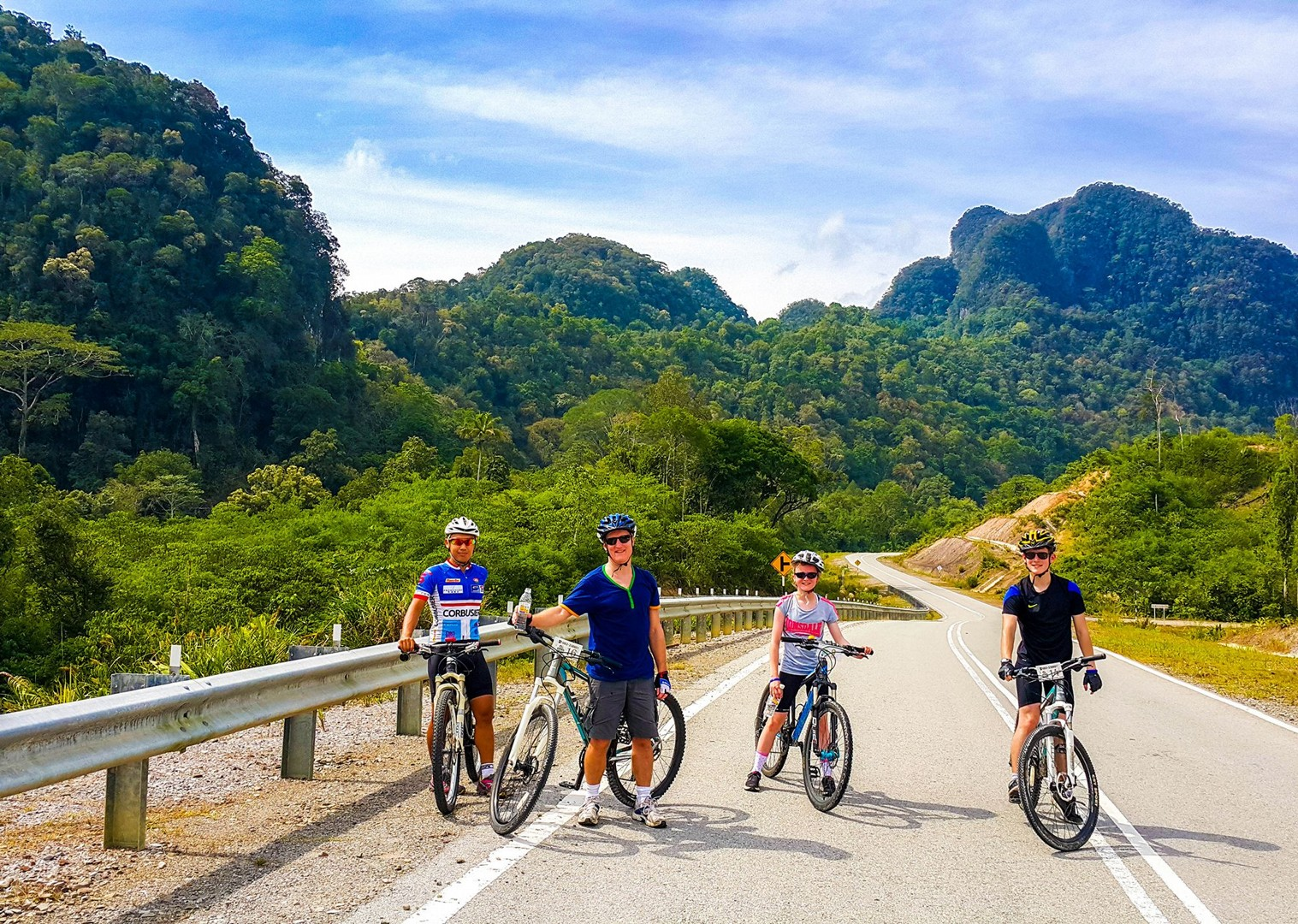 group-cycling-family-guided-holiday-in-borneo-saddle-skedaddle.jpg - Borneo - Sarawak Jungle Adventures - Family Cycling