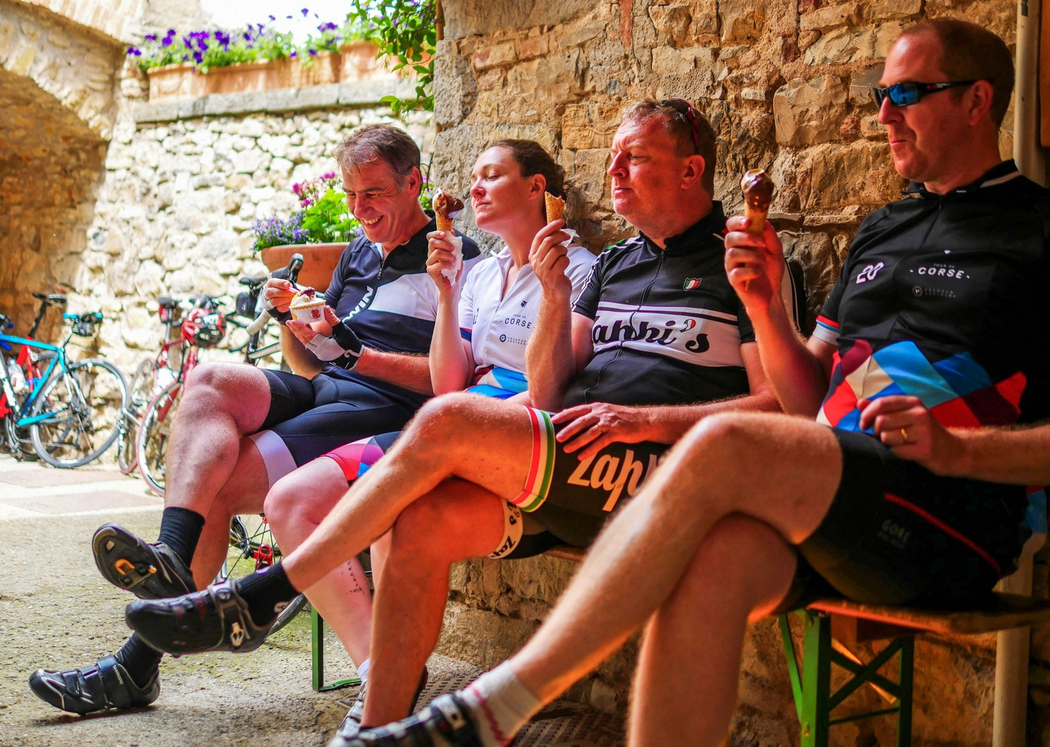 Team gelato.jpg - Italy - Tuscany - Giro della Toscana - Guided Road Cycling Holiday - Road Cycling