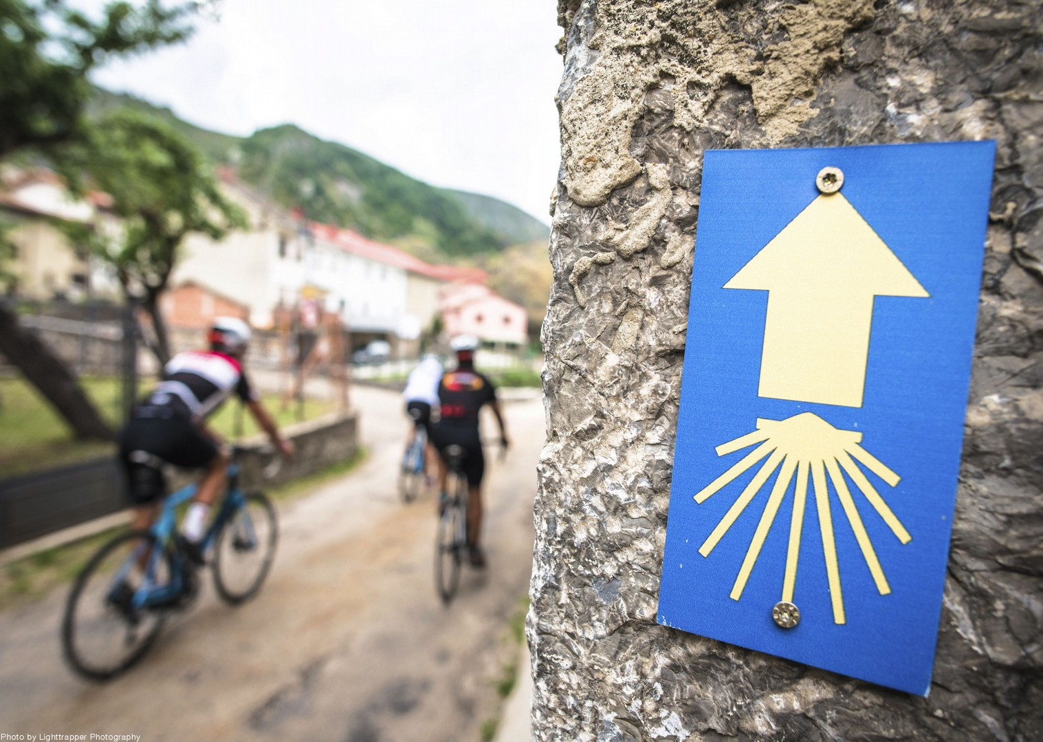 spanish-road-sign-cycle-journey-town-rock.jpg - Northern Spain - Road to Santiago - Guided Road Cycling Holiday - Road Cycling