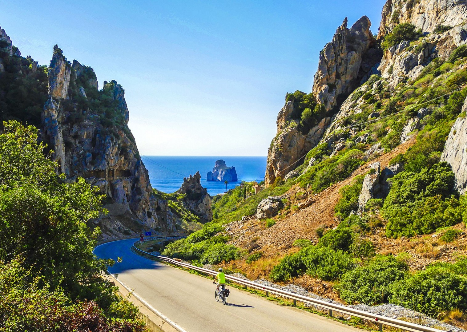 descending-towards-the-pan-di-zucchero-sardinia-cycling-holidays.jpg - Italy - Sardinia - Island Flavours - Self-Guided Leisure Cycling Holiday - Leisure Cycling