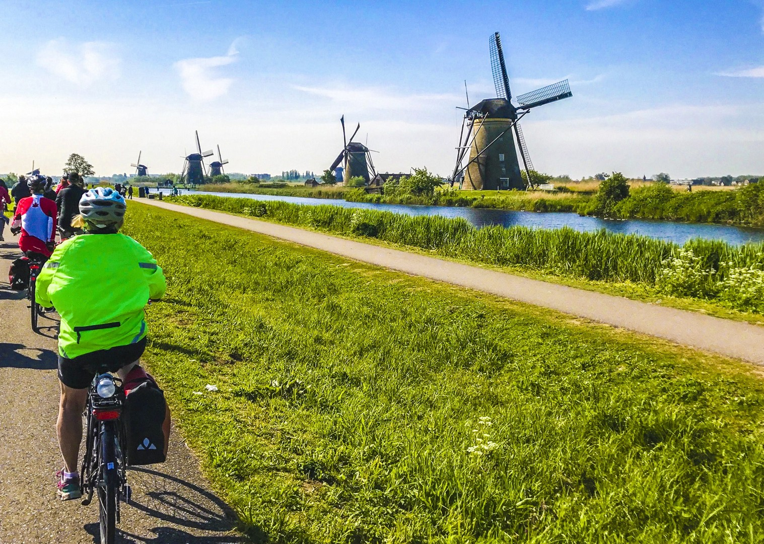premium-cycling-tour-holland-kinderdijk-17th-century-culture-boat-accommodation.jpg - Holland and Belgium - Bruges to Amsterdam - Premium Bike and Barge Holiday - Leisure Cycling